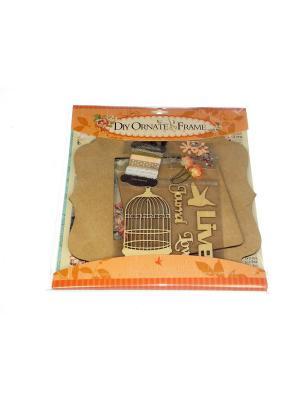 Набор Укрась рамку для фото дерев. Азбука Тойс. Цвет: оранжевый