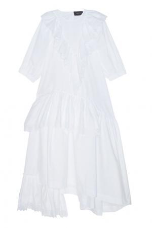 Хлопковое платье Simone Rocha. Цвет: белый