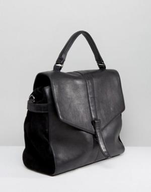 Urbancode Real Leather Fold Over Bag. Цвет: черный
