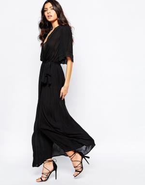Stone Cold Fox Черное шелковое платье макси Leo. Цвет: черный