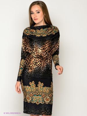 Платье МадаМ Т. Цвет: коричневый, темно-синий, зеленый