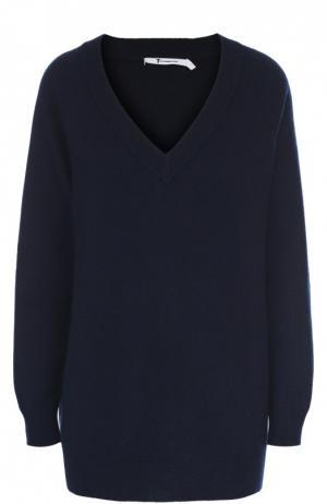 Удлиненный пуловер свободного кроя с V-образным вырезом T by Alexander Wang. Цвет: темно-синий