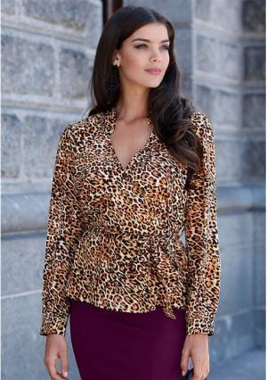 Блузка MY STYLE. Цвет: черный/бежевый с принтом