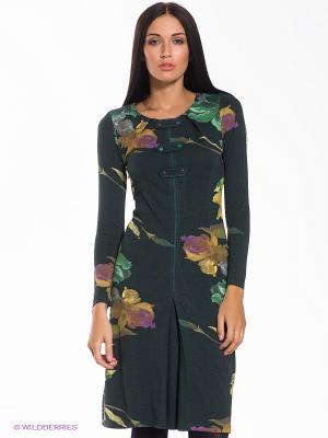 Платье Classic Style. Цвет: темно-зеленый, желтый, зеленый