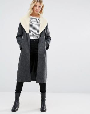 Cooper & Stollbrand Серый удлиненный шерстяной тренч. Цвет: серый