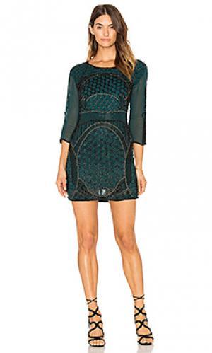 Мини платье с отделкой бисером beth Karina Grimaldi. Цвет: сине-зеленый