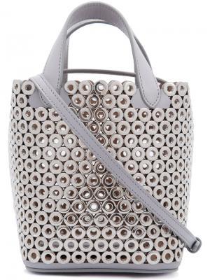 Микро сумка-тоут Alaïa. Цвет: металлический