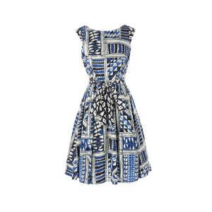 Платье короткое расклешенное с графичным рисунком RENE DERHY. Цвет: наб. рисунок синий