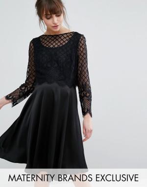 Queen Bee Приталенное платье с атласной юбкой и кружевным лифом. Цвет: черный
