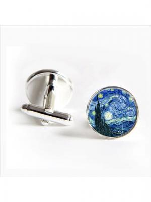 Запонки Звездная ночь Ван Гог Churchill accessories. Цвет: серебристый