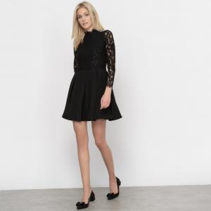 Платье с кружевными вставками MOLLY BRACKEN. Цвет: черный