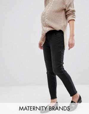 New Look Maternity Выбеленные зауженные джинсы для беременных. Цвет: черный
