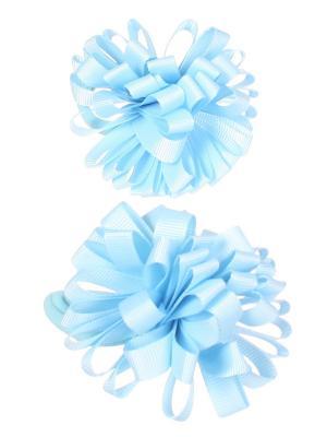 Банты для волос из ленты на резинке однотонные, 2 шт, голубые Радужки. Цвет: голубой