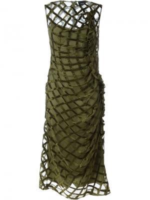Платье с сетчатым верхним слоем Simone Rocha. Цвет: зелёный