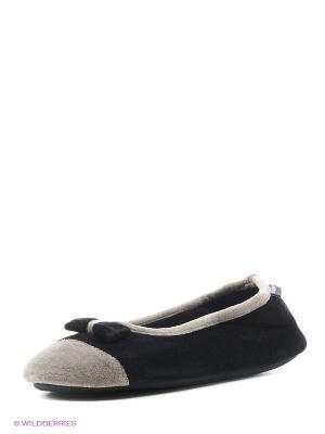 Тапочки Isotoner. Цвет: темно-серый, светло-серый