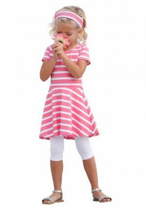 Комплект: платье + повязка на голову легинсы Otto. Цвет: розовый