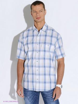 Рубашка Westrenger. Цвет: голубой, молочный