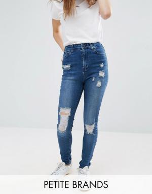 Waven Petite Зауженные джинсы с рваной отделкой Anika. Цвет: синий