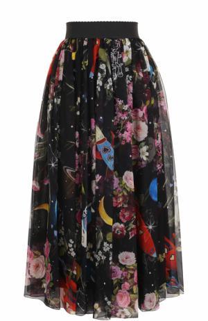 Шелковая юбка-миди с принтом и эластичным поясом Dolce & Gabbana. Цвет: разноцветный