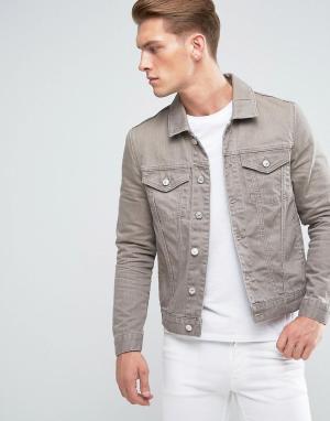 River Island Коричневая выбеленная джинсовая куртка. Цвет: коричневый