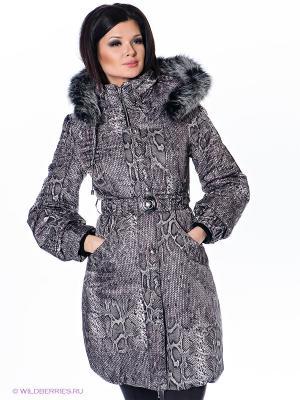 Пальто Alisa Line. Цвет: серый, коричневый