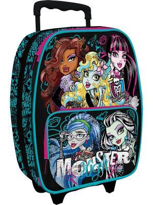 Чемодан на роликах Monster High. Цвет: черный, голубой