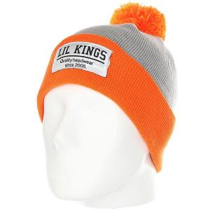 Шапка  Pon-pon Contrast Orange Lil Kings. Цвет: серый,оранжевый