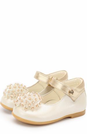 Кожаные туфли с декором и застежками велькро Missouri. Цвет: золотой