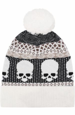 Шерстяная шапка с помпоном Gemma. H. Цвет: белый