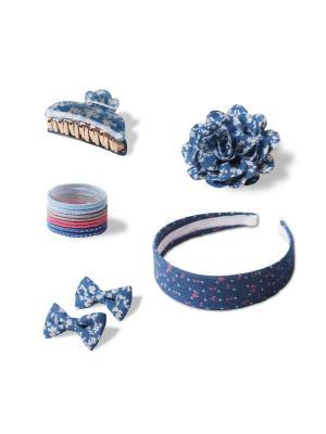 Комплект аксессуаров для волос CASUAL Denim ESLI. Цвет: темно-синий, светло-голубой, коралловый