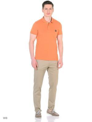 Футболка-поло United Colors of Benetton. Цвет: оранжевый, черный