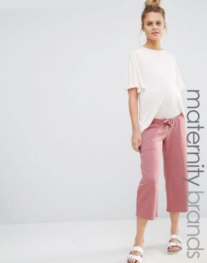 Bluebelle Maternity Трикотажная юбка-брюки для беременных. Цвет: розовый
