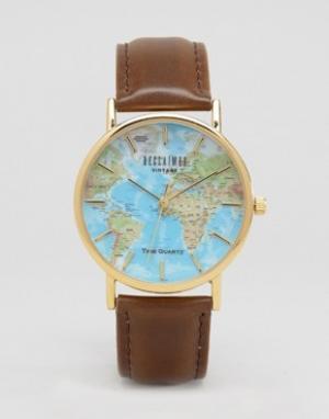Reclaimed Vintage Классические часы с принтом карты Inspired. Цвет: коричневый