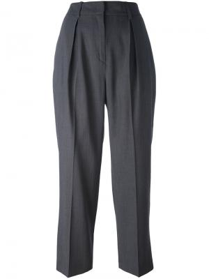 Укороченные брюки со складками Federica Tosi. Цвет: серый