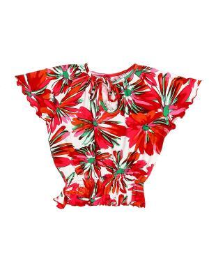 Блуза PETITE MARI. Цвет: красный, оранжевый