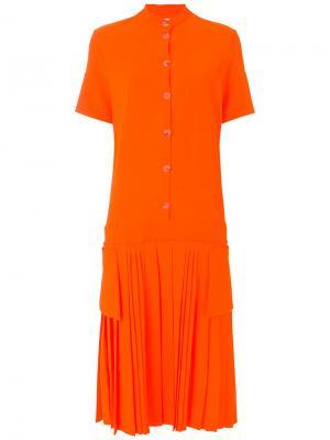 Плиссированное платье-рубашка Victoria Beckham. Цвет: жёлтый и оранжевый