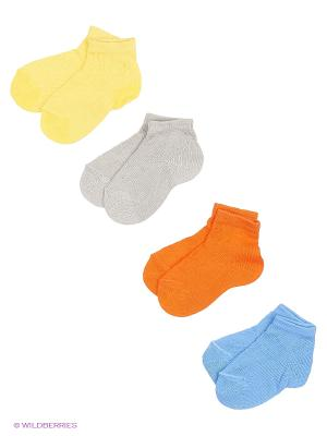 Носки, 4 пары Гамма. Цвет: желтый, синий, серый, оранжевый