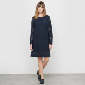 Кружевное платье La Redoute Collections. Цвет: синий морской