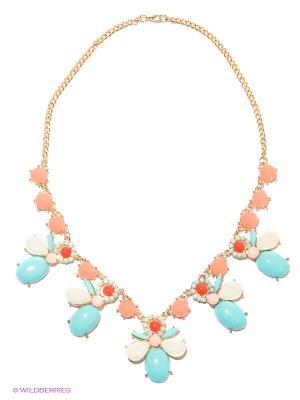 Колье Lovely Jewelry. Цвет: золотистый, бирюзовый, светло-коралловый