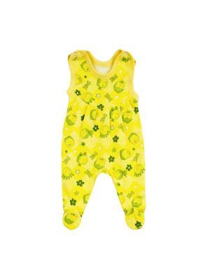 Полукомбинезон футер КиСса. Цвет: желтый, зеленый