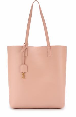 Кожаная сумка-шоппер с косметичкой Saint Laurent. Цвет: светло-розовый