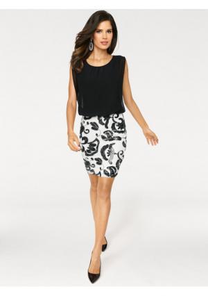 Платье Ashley Brooke. Цвет: темно-синий, черный/белый