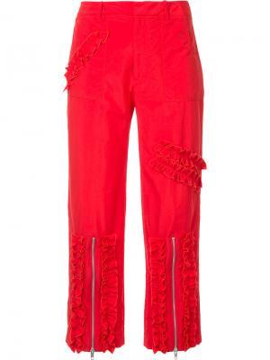 Укороченные брюки с рюшами Molly Goddard. Цвет: красный