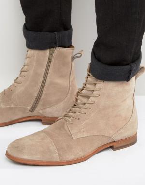 Zign Замшевые ботинки на шнуровке. Цвет: stone