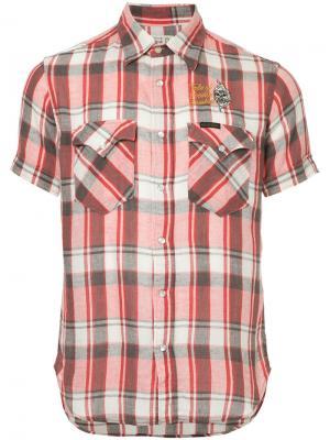 Рубашка с короткими рукавами в клетку Hysteric Glamour. Цвет: красный