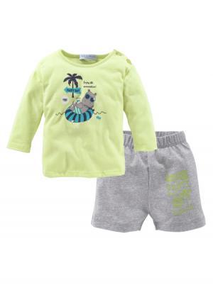 Комплект: футболка + шорты KLITZEKLEIN. Цвет: зеленый/серый меланжевый