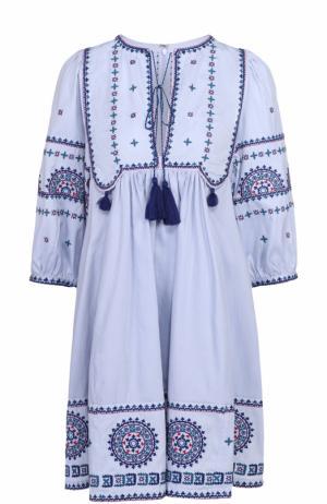 Хлопковое мини-платье с контрастной вышивкой Talitha. Цвет: голубой