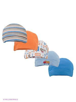 Шапочка, 5 шт. Luvable Friends. Цвет: голубой, оранжевый, белый