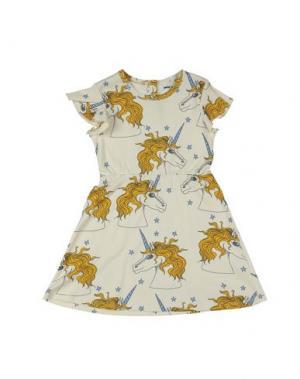Платье MINI RODINI. Цвет: светло-желтый