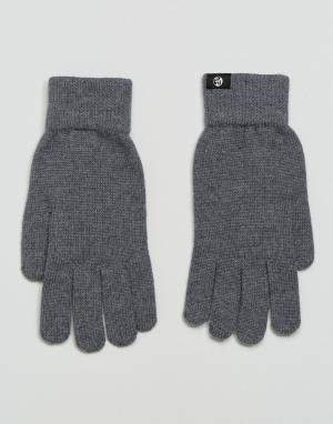 PS Paul Smith Серые перчатки из мериносовой шерсти. Цвет: серый